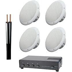 Electro Supplies 2 Pairs of 100W 8Ohm Ceiling Speakers with 4 Way Switch and 100m Cable