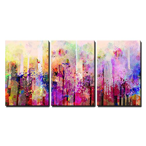 """Wall26 - 3 Piece Canvas Wall Art - Abstract Colorful Splash Artwork - Modern Home Decor Stretched and Framed Ready to Hang - 24\""""x36\""""x3 Panels"""