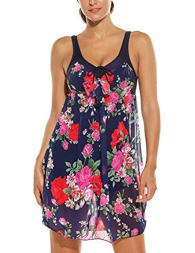 Floral Swimdress (HOTOUCH Women's Plus Size Flower Swimwear One Piece Swimdress Swimsuit Navy Blue/Rose Print XXXL)
