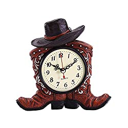 STAY TRULY Vintage Resin Ornaments, Double Boot Alarm Clock, American Western Style Creative Desktop Alarm Clock, Cafe bar Home Accessories