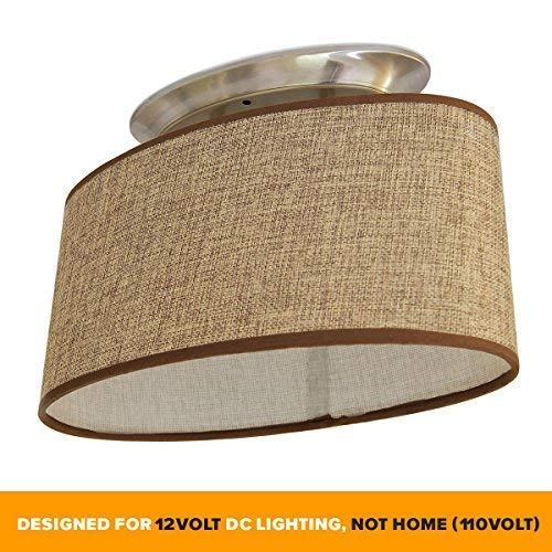Dream Lighting 12Volt DC Fabric Light Fixture/Commercial Decor Lights with Brown Burlap High-Elliptical Oval Ceiling Light Shade-LED Decor Lamp-0.49A, 6W