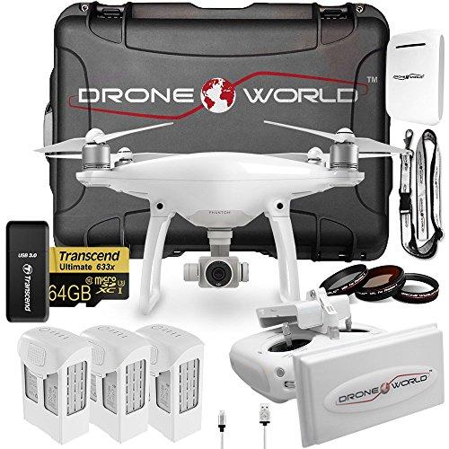 DJI Phantom 4 Executive Kit w/ Long Range Extender System, Nanuk 950 Wheeled Case, 3 Batteries, Lens Filters, 64GB U3 Card/Reader & More