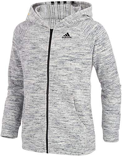 adidas Girls Salt and Pepper Velour Jacket (Grey, Large) by adidas