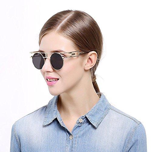 Gothiques Flash Cadre Réfléchissantes à Femmes Doré Hommes Sunglasses miroir Steampunk Extérieures soleil Lunettes Gris Lens de 1z7Axx