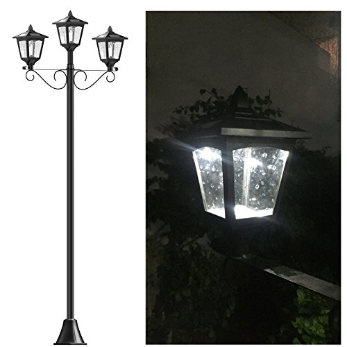 72' Street Vintage Outdoor Garden Triple Solar Lamp Post Light Lawn - Adjustable