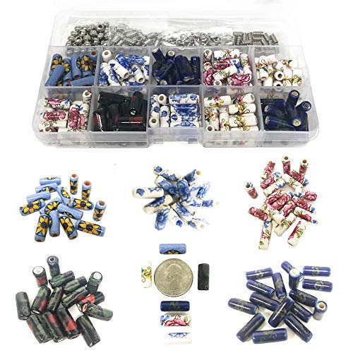 150 PCs Porcelain Ceramic Beads for Jewelry Making DIY Kit with 5 Meters Genuine Greek Leather Cord and Free Leather Necklace - Includes Metal Spacer Beads, Parts, Jump Rings, Lobster Clasps (Floral)