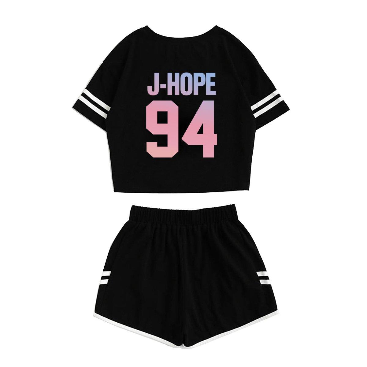 JUNG KOOK Kpop BTS Album Love Yourself:Tear Sports Hot Pants + Midriff-baring Shirts Set