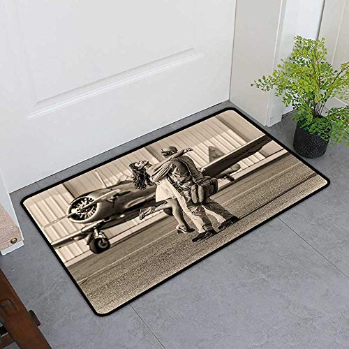 Custom&blanket Magic Doormat, Vintage Airplane Decor Doormats for High Traffic Areas, Brunette Young Woman Hugging a Pilot Historic Aircraft Homecoming Image (Sepia, H20 x W32)