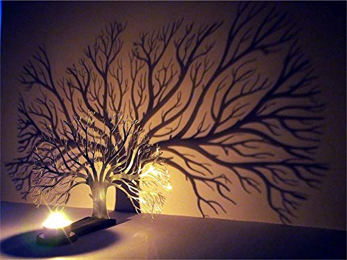 Tree of Life Decorative Candle Holder | Home Decor Tree Sculpture Candles Stand | Creates an impressive shadow on the wall | Decorative Holder for Living Room, Dining Table, Fireplace | Shadow Art (Candle Sculpture)