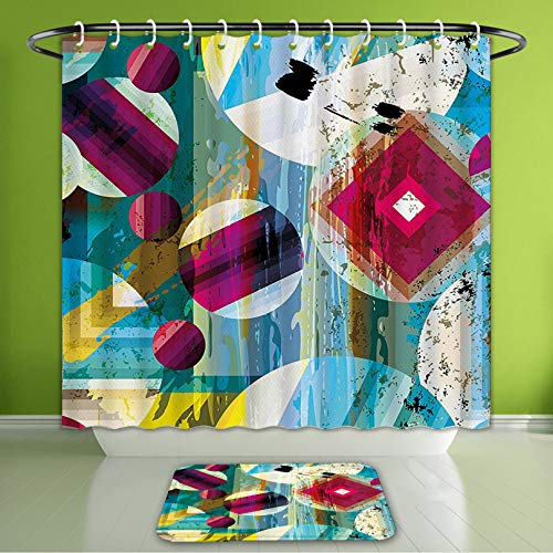 Waterproof Shower Curtain and Bath Rug Set Modern Art Vintage Geometric and Circle Shapes Like Outer Space Planets Artprin Bath Curtain and Doormat Suit for Bathroom Extra Wide Size 78