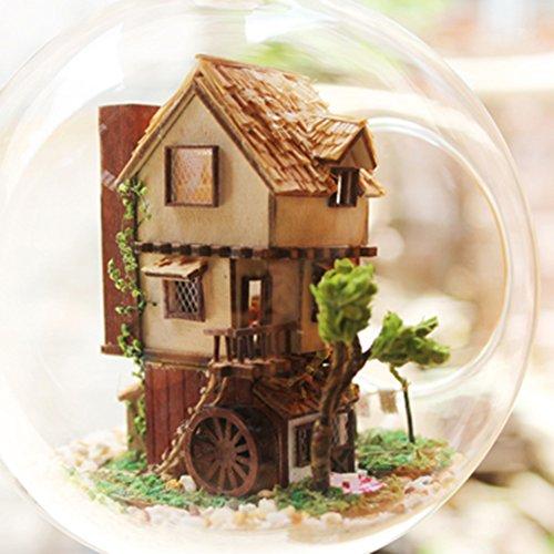 Li 素敵な 山小屋 手作りミニチュア ドール ハウス 球体 ガラス 森の家 ログハウス DIY 飾りつけ 装飾 音感センサー プレゼントにおすすめ 専用フック セット付きません