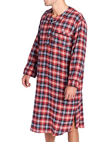 Ashford   Brooks Mens Flannel Plaid Long Sleep Shirt Henley Nightshirt -  Burgundy Navy  2e3b6ae8f