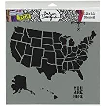 Crafters Workshop Template, 12 by 12-Inch, U.S. Map