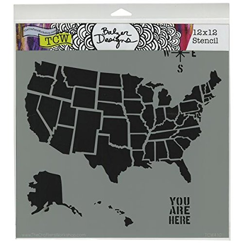 Crafters Workshop Template, 12 by 12-Inch, U.S. Map (TCW-410)