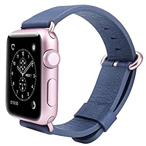 JSGJMY Apple Watch Band 42mm Men Women Genuine Leather Strap Replacement Watchbands for iWatch Series 3/Series 2/Series 1/Edition/Sport(Midnight Blue+Rose gold Buckle)