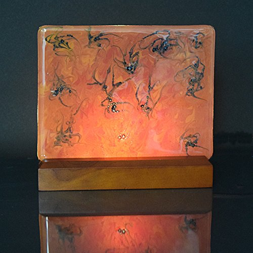 Large Glass and Wood Painted Fused Glass Nightlight Shelf Art