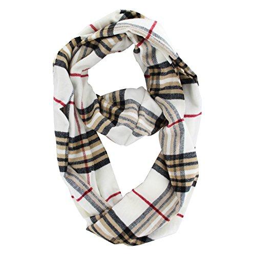 Check Cashmere (Plaids & Checks Cashmere Infinity Cowl Scarf (White))