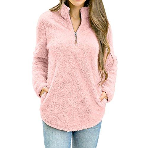 Show Trunk Underwear - Women Blouses Clearance WEUIE Womens Long Sleeve Tops Winter Warm Blouse Sweatshirt Zipper Fleece Pullover Top (XL,Pink)