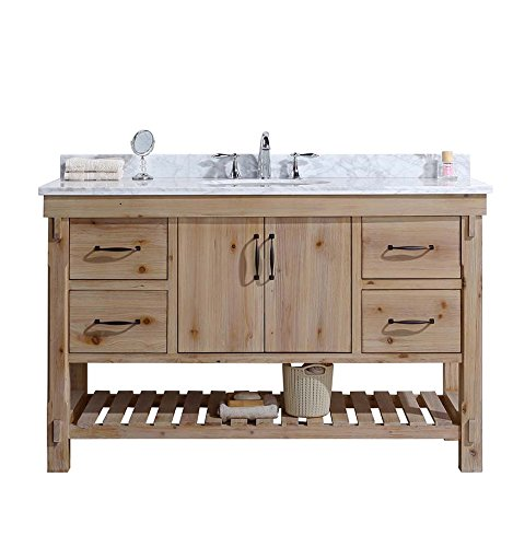 "Ari Kitchen and Bath  Marina Bathroom Vanity Driftwood Finish, 55"" W x 22"" D x 34.5"" H - Solid wood Construction using tenon and mortise Joinery. Dovetail drawer boxes Finish: Driftwood. Distressed and Antique Finish. Inconsistent Characteristics of the wood are Part of the Finish, to give a rustic look. - bathroom-vanities, bathroom-fixtures-hardware, bathroom - 51ZC2AGhL2L -"