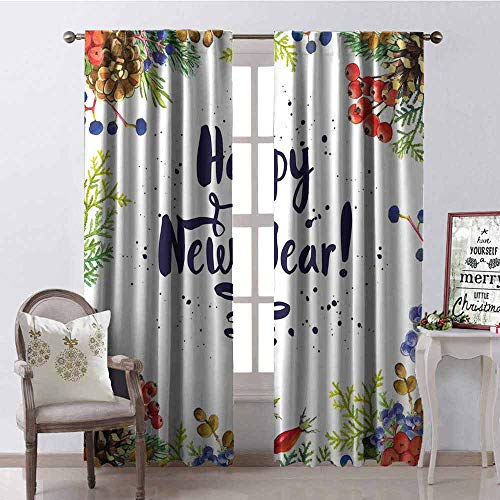 GloriaJohnson New Year Blackout Curtain Rowan Cones Wild Grapes and Arborvitae Branches Composition with Happy Year Quote 2 Panel Sets W42 x L84 Inch Multicolor ()