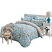 zhENfu Wonderful Blue Flowers Bedding Sets 4PCS for Twin Full Queen King Size from China Contian 1 Duvet Cover 1 Flatsheet 2 Pillowcases,King,Blue