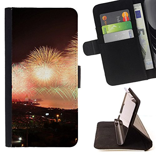 God Garden - FOR Apple Iphone 5 / 5S - City Night Explosion Firework - Glitter Teal Purple Sparkling Watercolor Personalized Design Custom Style PU Leather Case Wallet Fli