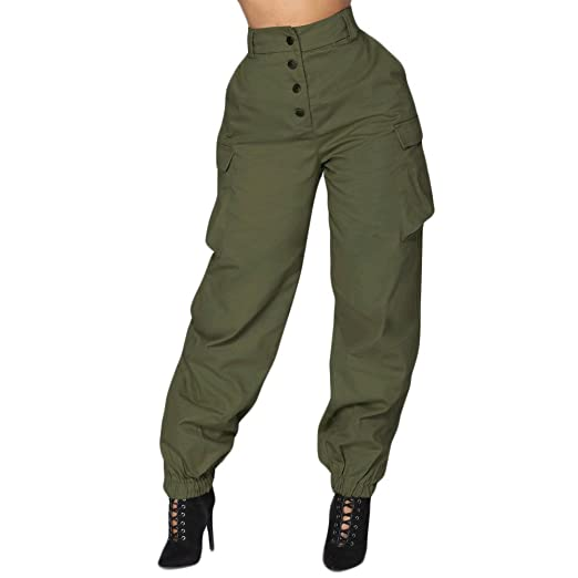 5d0e48b5ae0 Usstore High Waist Harem Pants for Women Elastic Waist Loose Stretch Sport Casual  Jogger Pants (