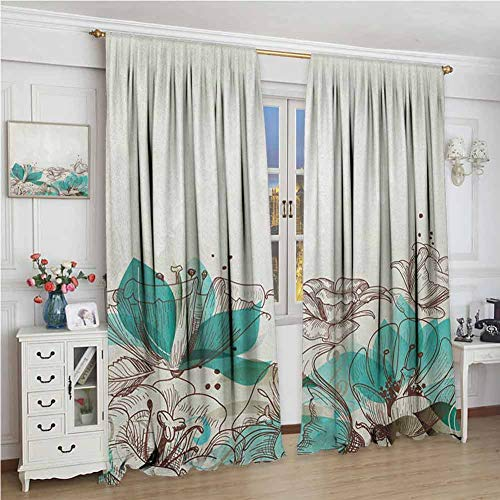 GUUVOR Turquoise Blackout Curtain Retro Floral Background