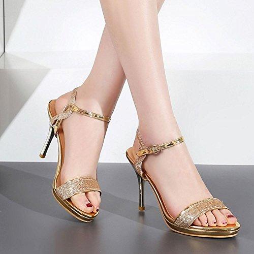 COOLCEPT Mujer Moda Correa de Tobillo Sandalias Punta Abierta Slingback Tacon de Aguja Zapatos Oro