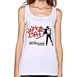 NC Who's Bad Ultimate Michael Jackson Tribute Logo Tank Top For Women White S