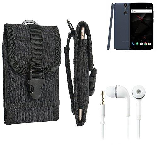 bolsa del cinturón / funda para Vernee Thor, negro + Auriculares | caja del teléfono cubierta protectora bolso - K-S-Trade (TM)