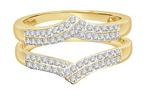 Wholesale Diamonds 14K yellow gold .33 carat round Cut diamond solitaire enhancer two swirling bands solitaire ring guard wrap wedding band (Si1 Round Fine Diamond Solitaire)