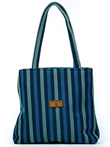 Handbags for Women Clearance,Over the Shoulder Tote, ARANDA WEAVE, Capri Design, Navy/Saxe (14