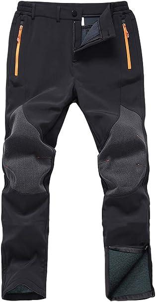 Gash Hao Mens Snow Ski Waterproof Softshell Snowboard Pants Outdoor Hiking Fleece Lined Zipper Bottom Leg