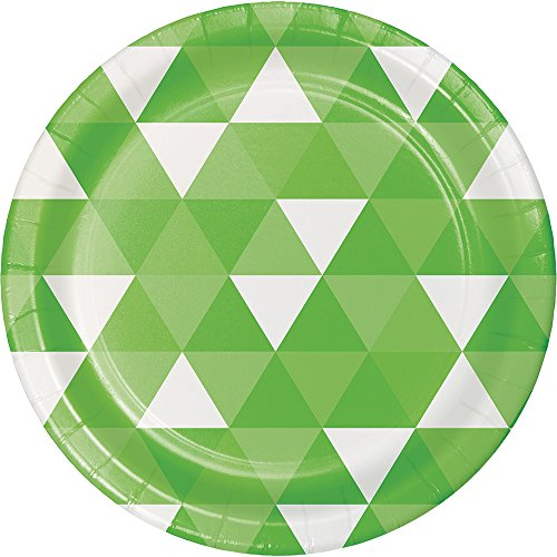 Creative Converting 319968 96 Count Dessert/Small Paper Plates, Fractal Fresh Lime Green Service Plate
