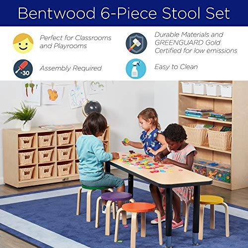 ECR4Kids Bentwood Stacking Stools for Kids, 12'' H, Assorted (6-Piece Set) by ECR4Kids (Image #5)