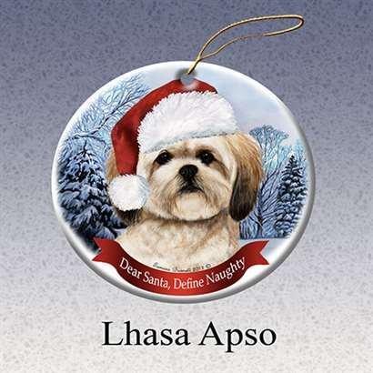 Holiday Pet Gifts Lhasa Apso Santa Hat Dog Porcelain Christmas Tree Ornament