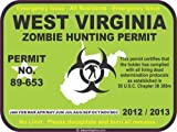West Virginia zombie hunting permit decal bumper sticker