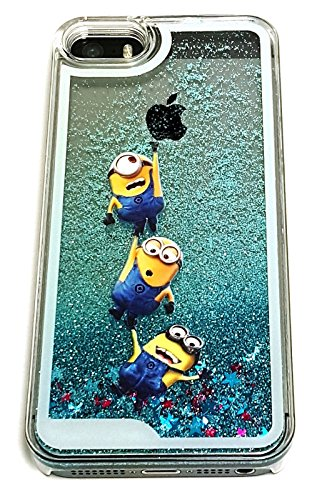 Price comparison product image iPhone 5 5S SE Cute 3D Cartoon Minion Liquid Glitter Case, Luxury Liquid Quicksand Floating Bling Glitter Sparkle Creative Design Case Cover For iPhone 5 5S SE (Minion)