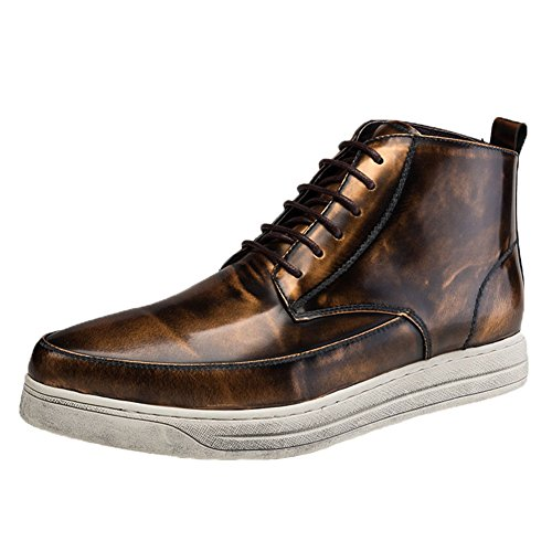 Santimon Men's Sneakers High Top Vintage Patent Leather Fashion Shoes Gold sale extremely pS00Ze