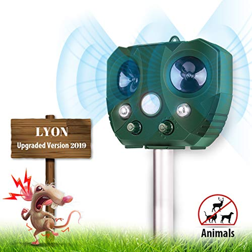 Animal Repeller, Lyon'sd Ultrasonic Animal Repeller Solar Powered Pest Repellent IP65 Waterproof PIR Motion Sensor Ultrasonic and Red Flashing Light - Upgraded Version
