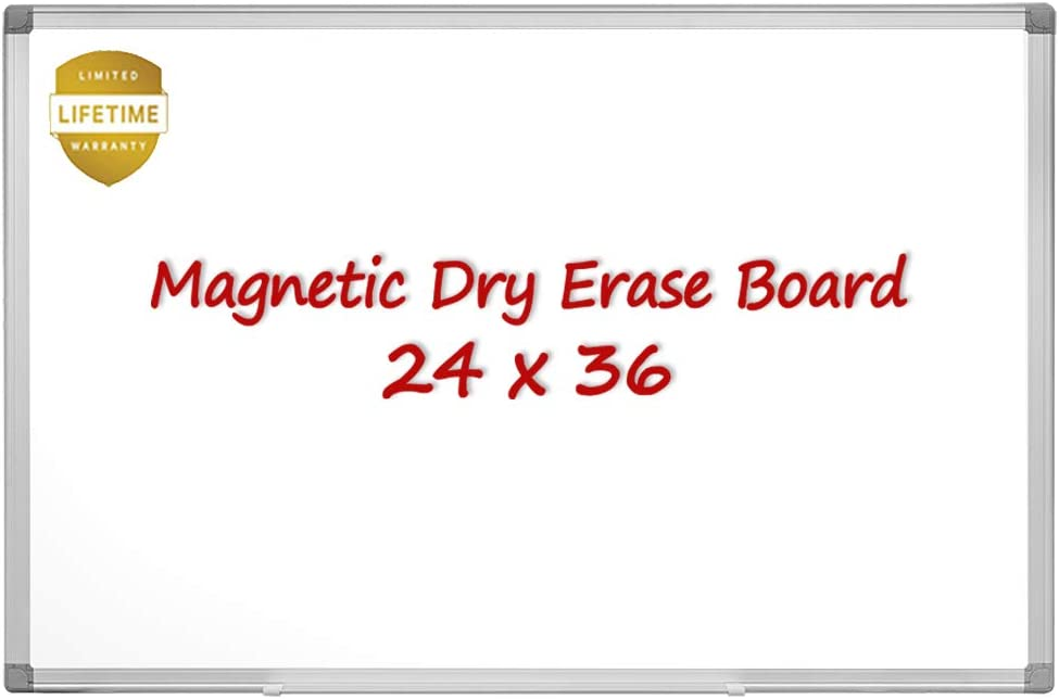 Magnetic Whiteboard/White Board, 36 X 24 Inches Magnetic Dry Erase Board, Silver Aluminum Frame with Detachable Marker Tray