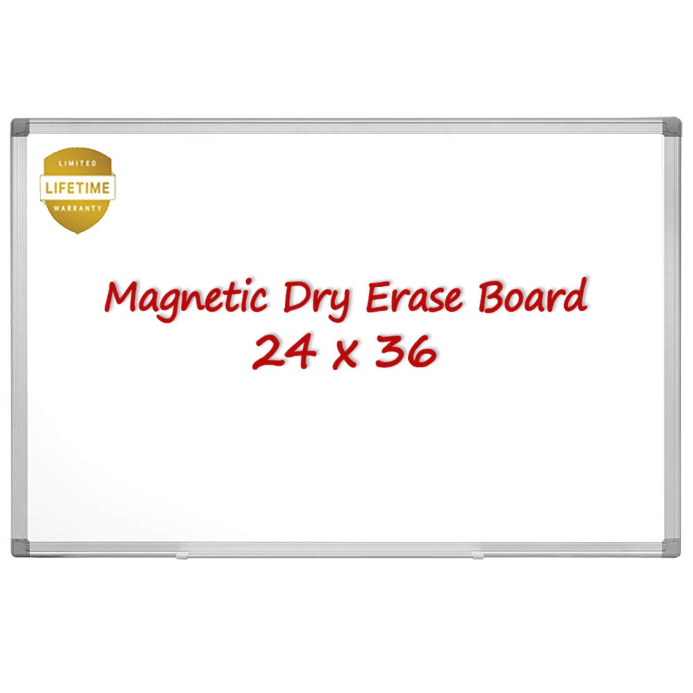 Magnetic Dry Erase Board, 36 X 24 Inches Magnetic Whiteboard, Silver Aluminum Frame with Detachable Marker Tray