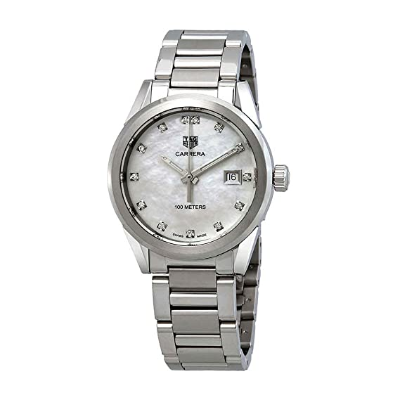 45506a75e9db Tag Heuer Carrera Diamond Mother of Pearl Dial Ladies Watch WBG1312.BA0758   Amazon.co.uk  Watches