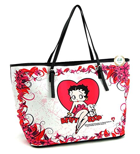 Betty Boop Large Tote Bag, Red Heart with Flowers (Betty Boop Large Tote)