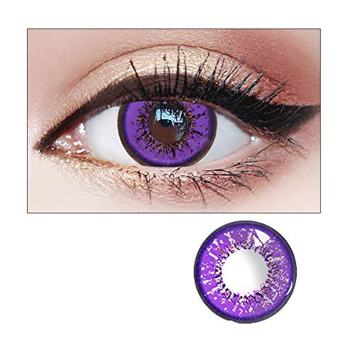WQFXYZ Women Multi-Color Contact Lenses Cosplay Eyes Cute Charm and Attractive Fashion Eye Accessories Cosmetic Makeup Eye Shadow (purple) ()