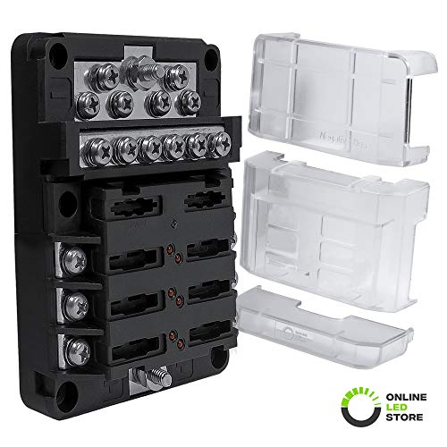 - 6-Way Power/12-Way Ground 100A Modular Fuse Box [Expandable to 12 Positive 12 Negative] [LED Blown Fuse Indicator] [Protective Cover] Distribution Block ATC/ATO Blade Fuse Holder Comes with Labels