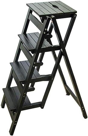 Taburete Escalera de Madera Taburete con escalera plegable, taburete de 4 peldaños Silla con escalera Silla plegable Silla de tijera multifunción Plegable Biblioteca for el hogar Cocina Pasos de ofici: Amazon.es: Hogar