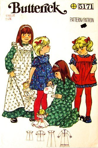 - Butterick 5171 Girls' Dress and Pinafore Vintage Sewing Pattern