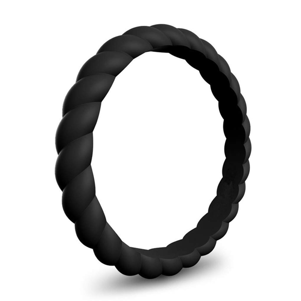 DARLING HER Thin Braided Silicone Ring Women Wedding Rings Rubber Bands Sport Hypoallergenic Crossfit Flexible Woven Silicone Finger Rings